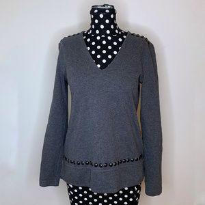 Banana Republic Dark Gray Studded V-Neck Sweater S